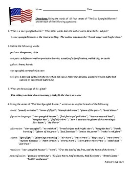 """""""The Star-Spangled Banner"""" Questions (Worksheet or Homework) and Answer Key"""