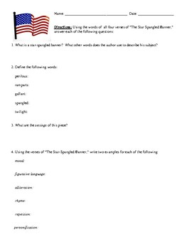 """""""Star-Spangled Banner"""" Questions (Worksheet or Homework) and Detailed Answer Key"""