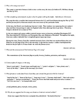 """Star-Spangled Banner"" Questions (Worksheet or Homework) and Detailed Answer Key"