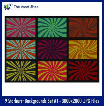 'Starburst Backgrounds' Set #1 (Digital Clip Art)