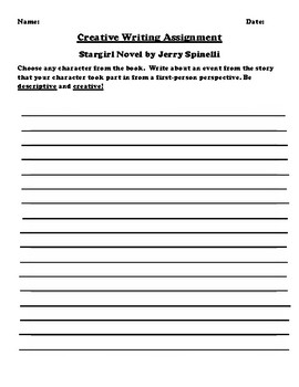 """Stargirl"" by Jerry Spinelli Creative Writing"