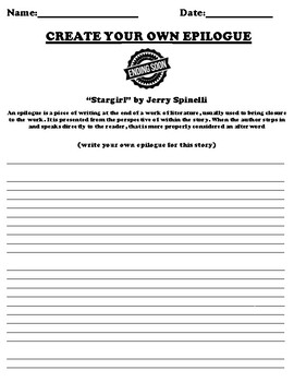 """Stargirl"" by Jerry Spinelli Epilogue Worksheet"