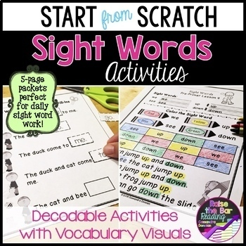 """Start from Scratch"" Sight Word Activities - Sight words in Context with Visuals"
