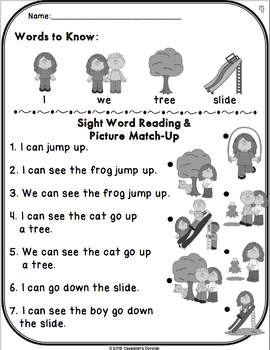 Start from Scratch Sight Word Activities - Sight words in Context with Visuals