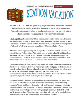 """""""Station Vacation""""  Student Engagement Strategy #9"""