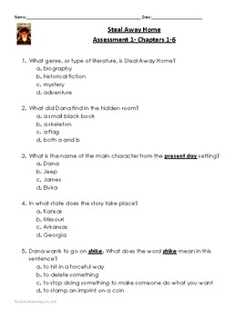 """Steal Away Home"" Assessment 1: Chapters 1-6"