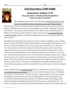 """Steal away home"""" by lois ruby (study guide) chapters 7-12 