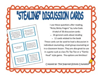 """""""Ricky Sticky Fingers"""" discussion cards about honesty vs. stealing"""
