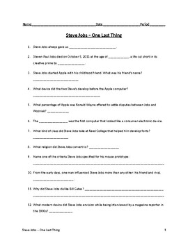"""""""Steve Jobs - One Last Thing"""" Video Viewing Guide"""