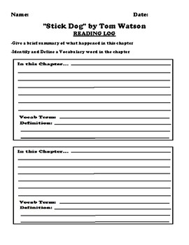 """Stick Dog"" by Tom Watson Worksheet Packet"