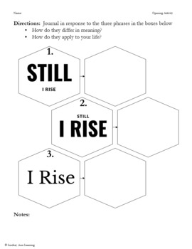"""Still I Rise"" Song Analysis & Poem Analysis Lesson Plans, Handouts"