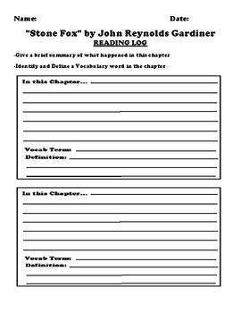 """Stone Fox"" by John Reynolds Gardiner Worksheet Packet"