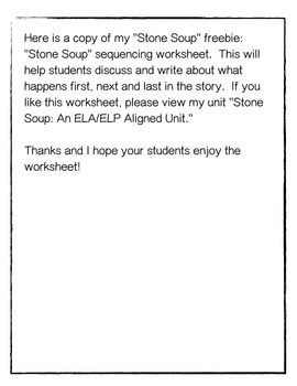 """Stone Soup""-Sequencing Worksheet Freebie"