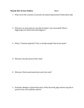 """Stop the Sun"" by Gary Paulson Comprehension Questions"