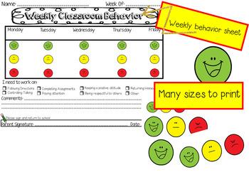 **Stoplight Smileys! :)** Behavior System & Weekly Behavior Sheet