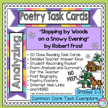 """""""Stopping by Woods On a Snowy Evening"""" - Robert Frost Poetry Analysis Task Card"""