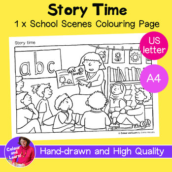 """Story Time"" Coloring Sheet/Colouring Page (Elementary/Primary School)"