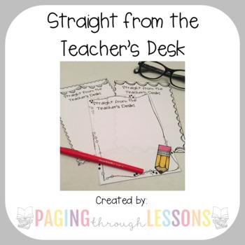 """Straight from the Teacher's Desk"" - Teachers Notes Set"