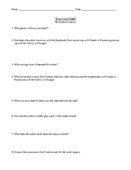 """Straw into Gold"" By Sandra Cisneros: Assessment or Worksheet and Answer Key"