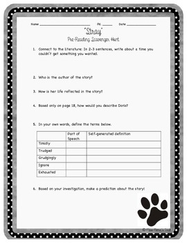 """""""Stray"""" by C. Rylant Pre-Reading Activity"""