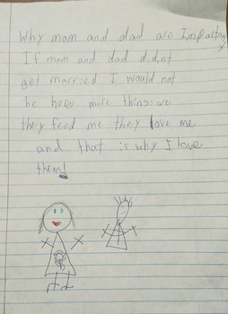 (Stuff by Kids) Why Mom and Dad are Important Letter