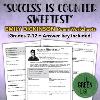 Success Is Counted Sweetest Emily Dickinson Poem Worksheet