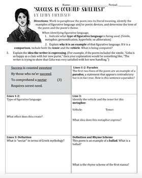 """""""Success is Counted Sweetest"""" Emily Dickinson Poem Worksheet Study Guide"""