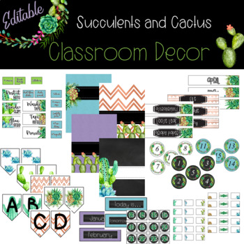 Succulents and Cactus *** Editable Classroom Decor  *** {{GROWING BUNDLE}}