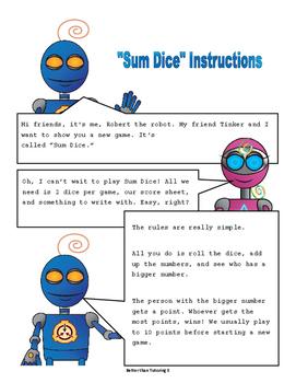 """""""Sum Dice"""" Printable Adding Game"""