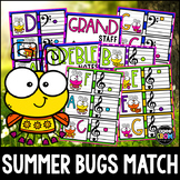 """""""Summer Bugs"""" Music Notes Matching Flashcard Fun!  Treble and Bass Clefs"""
