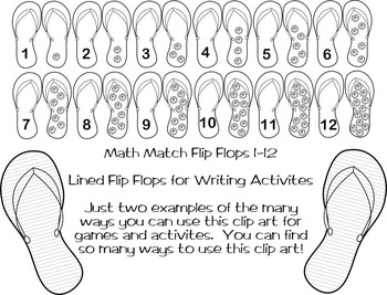 * Summer Flip Flops * Back To School * Clip Art * Game *