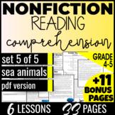 4th & 5th Grade Reading Passages: Sea Animals {Nonfiction Set5/5} Test Prep  PDF