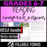 Reading Comprehension Passages {MEGA Bundle} Self Grading Quizzes Grade6 (FORMS)