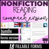 Distance Learning Reading Comprehension Passages {Nonfiction Bundle} Gr6 (FORMS)