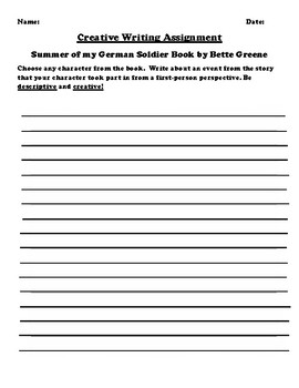 """""""Summer of my German Soldier"""" by Bette Greene Creative Writing"""