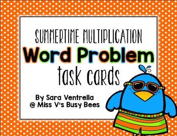 {Summertime} Multiplication Word Problem Task Cards