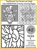 """Sunflowers"" by Van Gogh COLLABORATIVE Activity Coloring Pages"