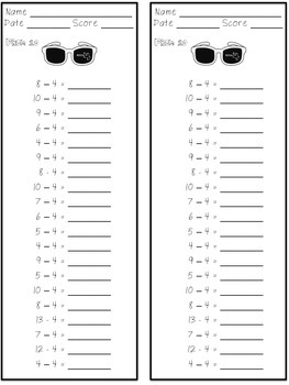 Subtraction Fact Fluency Pack ~ Sunglasses Theme