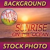 """Sunrise on the Ocean"" - Photograph - Ocean Background - Stock Photo"