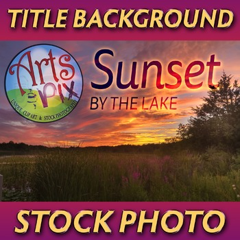 """Sunset Sky by the Lake"" - Photograph - Title Background - Stock Photo"