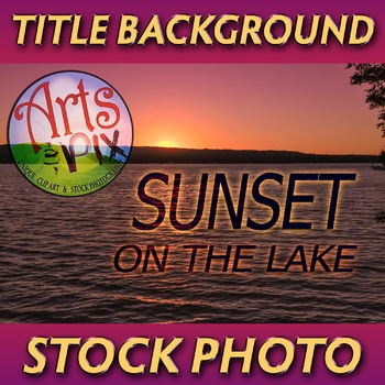 """Sunset Sky on the Lake"" - Photograph -  Sunset Background - Stock Photo"