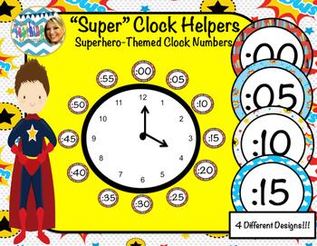 """Super"" Clock Helpers (Superhero-themed)"