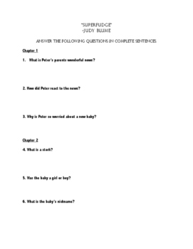 """Superfudge"" Comprehension Questions"