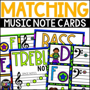 """Superhero Kids"" Music Notes Matching Flashcard Fun!  Treble and Bass Clefs"