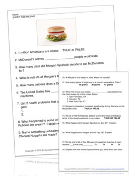 Supersize Me Dvd Nutrition Movie Fast Food Worksheet And Answer Key