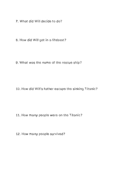 """Survivors: The Night the Titanic Sank"" Comprehension Questions"