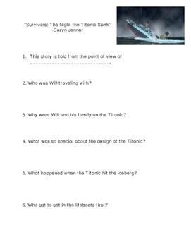 """Survivors: The Night the Titanic Sank"" Comprehension Questions"
