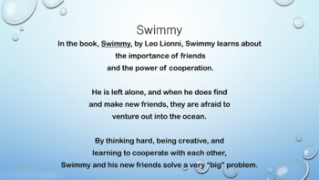 """Swimmy"" Cooperation Friendship Lesson Character Ed 3 video & Activity"