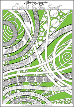 'Swirls in the Forest' - Printable Colouring Page for Adults and Children.