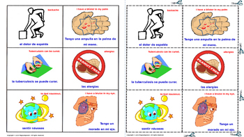 """""""Symptoms and Injuries"""" In Spanish. Lottery – (Board Game)."""